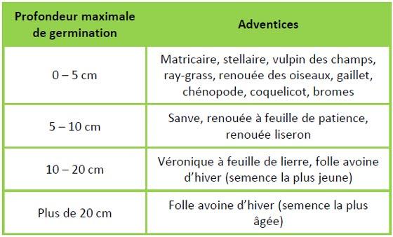 Profondeur maximale de germination des adventices